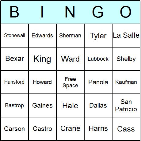 Texas Counties Bingo Card