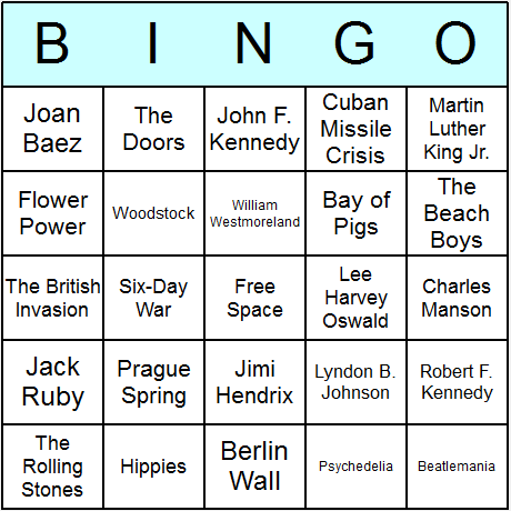 The 1960s Bingo Card