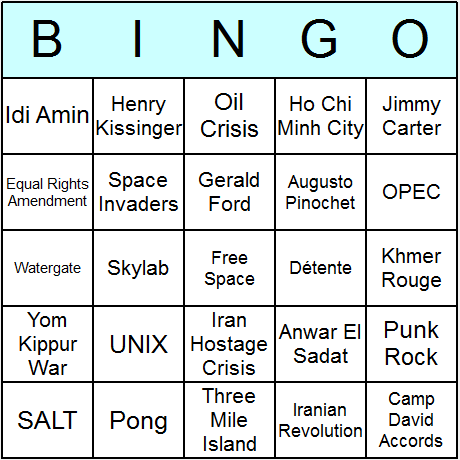 The 1970s Bingo Card