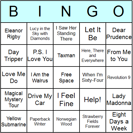 The Beatles Song Titles Bingo Card