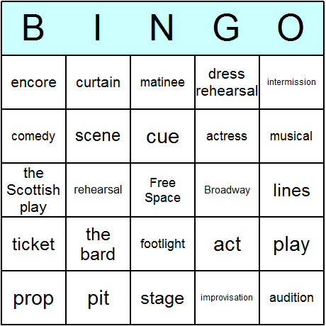 picture about Musical Bingo Cards Printable named Theater Bingo Playing cards - Printable bingo video game, activity, and
