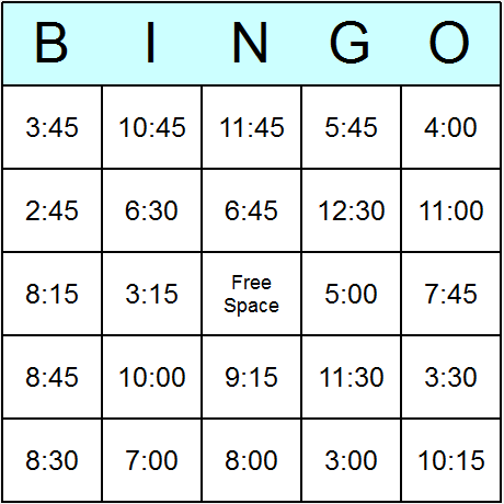 Times in 12 Hour Clock Easy Bingo Card