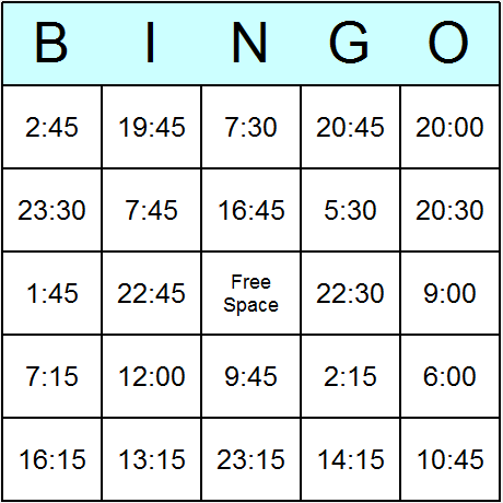 Times in 24 Hour Clock Easy Bingo Cards - Printable bingo activity ...