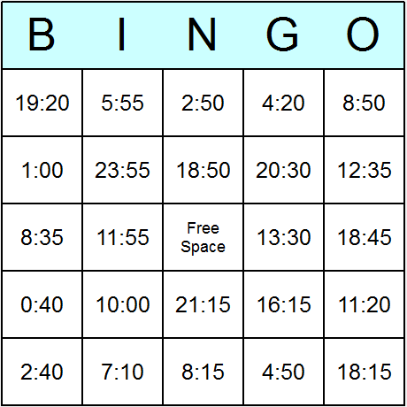 Times in 24 Hour Clock Hard Bingo Card