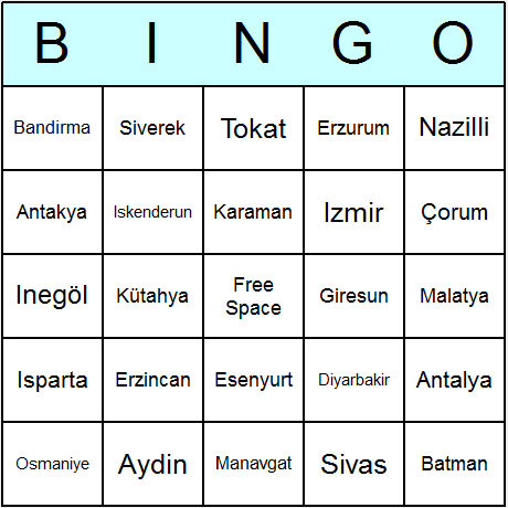 Turkish Towns & Cities Bingo Card