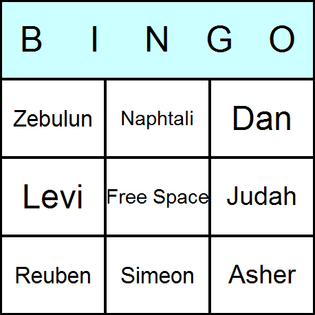 Twelve Tribes of Israel Bingo Card