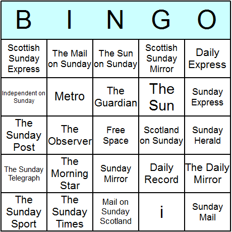 UK Newspapers Bingo Card