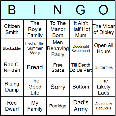 UK Sitcoms Bingo Card