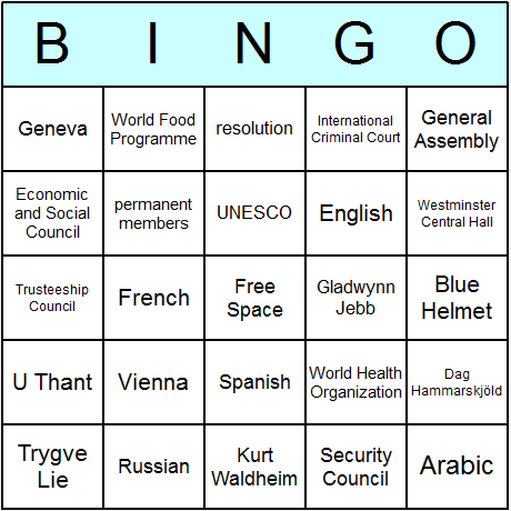 United Nations Bingo Card