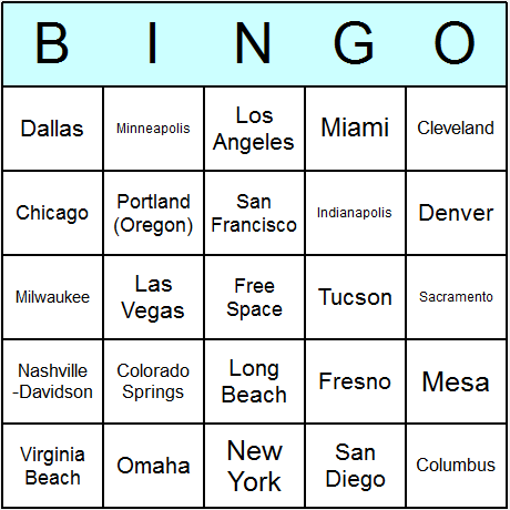 US Largest Cities Bingo Card
