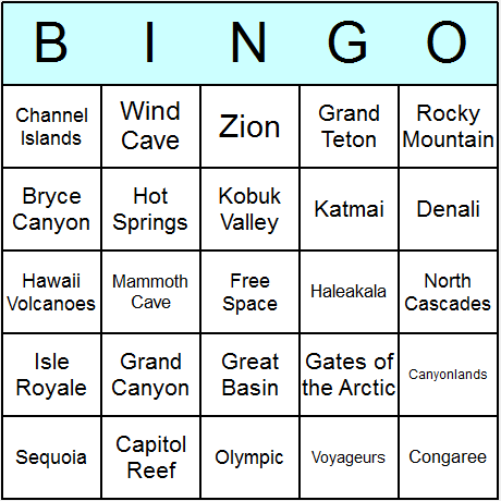US National Parks Bingo Card
