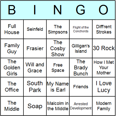 US Sitcoms Bingo Card