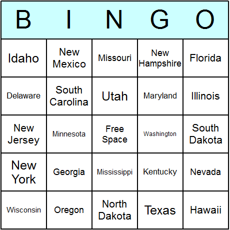 US States Bingo Card