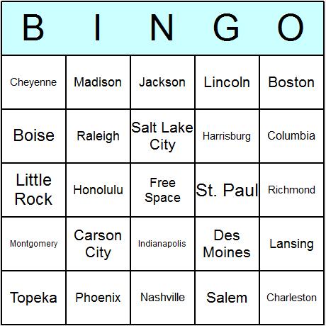 US States' Capitals Bingo Card