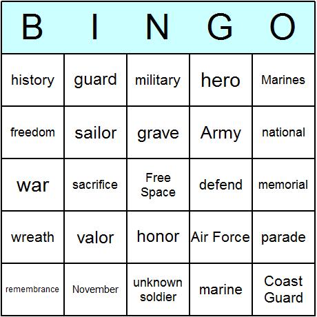 Veterans Day Bingo Card