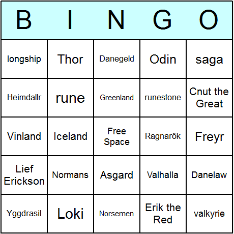 Vikings Bingo Card