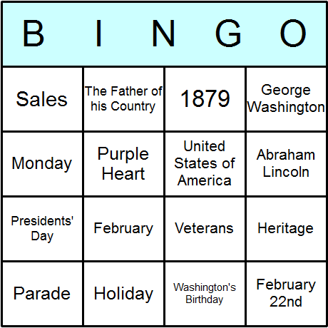 Washington's Birthday/Presidents' Day Bingo Card