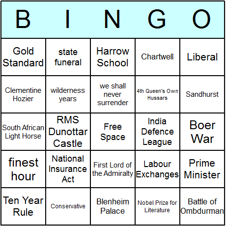 Winston Churchill Bingo Card