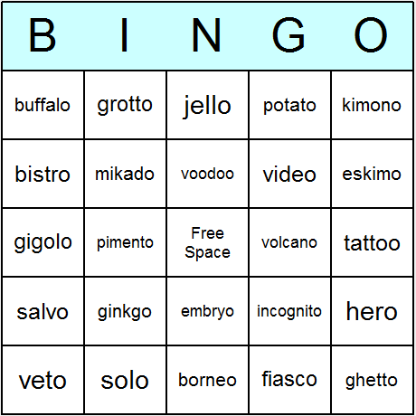 Words Ending In O Bingo Card