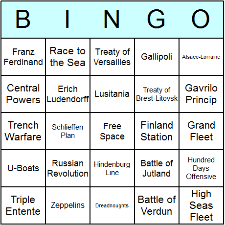 World War I Bingo Card