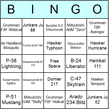 WW2 Aircraft Bingo Card
