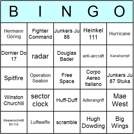 WW2 Battle of Britain Bingo Card