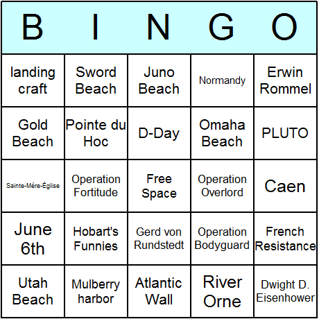 WW2 D-Day Bingo Card