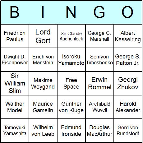 WW2 Generals & Admirals Bingo Card