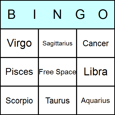 Zodiac Bingo Cards Printable Bingo Activity Game And Templates