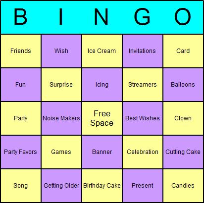Birthday Bingo Card Printables