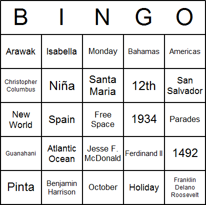 Columbus Day Bingo Card