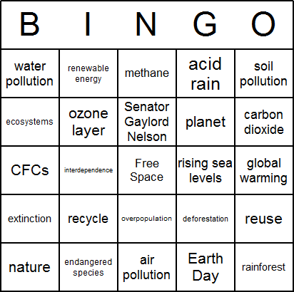 Earth Day Bingo Card