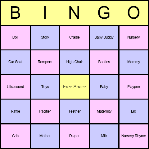 Baby Shower Bingo Card Printables