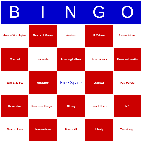 July 4th Bingo Cards - Free, printable, and available for immediate ...