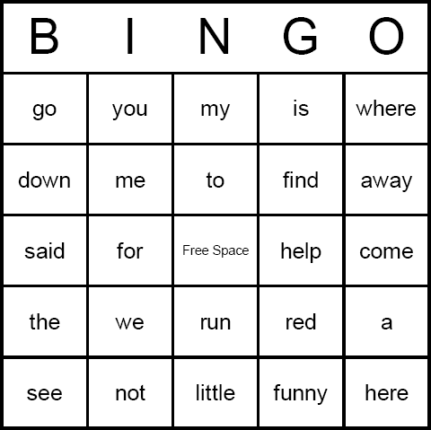 bingo bingo  bingo bingo cards words printable sight word sight dolch boards word printable