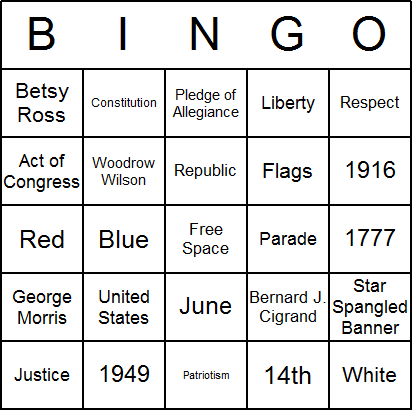 Flag Day Bingo Card Printables