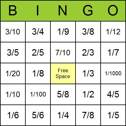 graphic relating to Fraction Cards Printable known as Fractions Bingo Playing cards - Absolutely free, printable, and offered for