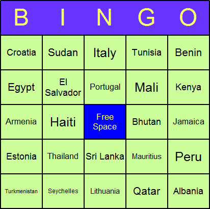 Geography Bingo Card