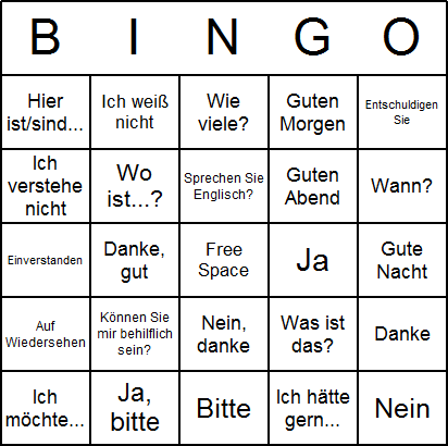 German Bingo Card