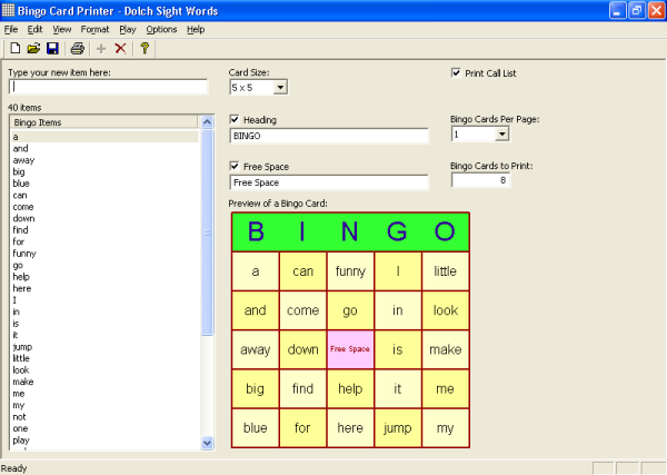 Click to view Bingo Card Printer 6.01 screenshot
