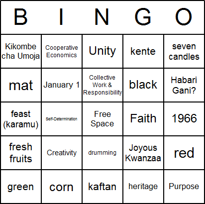 Kwanzaa Bingo Cards Free Printable And Available For Immediate