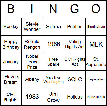 MLK Day Bingo Card