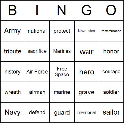 graphic about Veterans Day Cards Printable identified as Veterans Working day Bingo Playing cards - No cost, printable, and out there